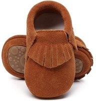 Wholesale suede leather baby moccasins resale online - New hot sell genuine suede leather Baby moccasins shoes fringe solid hard Rubber sole baby shoes first walker toddler baby boots V191116