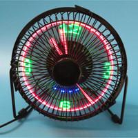 inç fanlar toptan satış-BRELONG küçük masaüstü fan saat ve sıcaklık göstergesi ile 4 inç metal çerçeve USB powered flaş LED ekran elektrikli kişisel soğutma fanı