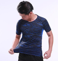 Wholesale tight gym shirts men resale online - Top Short sleeve Fitness suit men s autumn winter tights gym morning running pace football sports bottoming shirt Yoga Fitness suit men wear