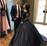 Wholesale vintage black lace corset wedding dresses resale online - 2020 Vintage Black Lace Satin Ball Gown Gothic Wedding Dresses With Long Sleeves Corset Back Non White Bridal Gowns Colorful Wedding Gown