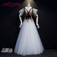 vestidos de flor rosa branca preta venda por atacado-AXJFU princesa preto laço branco rosa flor palco vestido de noite de luxo v pescoço ruffles beading anfitrião vestido de baile vestido de noite