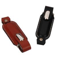 unidades flash usb de cuero al por mayor-nueva llegada superventas de cuero genuino 128 GB 64 GB USB 2.0 Memory Stick Flash Pen Drive para Pavilion