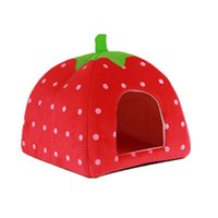 Wholesale strawberry cat beds for sale - Group buy Strawberry Style Cute Soft Cotton Sponge Puppy Cat Dog House Pet Bed Dome Tent Warm Cushion Basket Red x CM