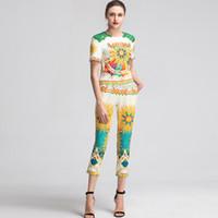 boncuklu bluzlar kadınlar toptan satış-2019 kadın Pist Twinsets Boncuklu O Boyun Kısa Kollu T Gömlek Baskılı Pantolon Moda Iki Parçalı Pantolon ile Bluz Setleri