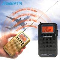radyo havası toptan satış-JINSERTA Tam Bant Radyo Dijital Demodülatör FM / AM / SW / CB / Hava / VHF Dünya Band Stereo Taşınabilir Radyo ile LCD Ekran Çalar Saat