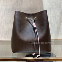Wholesale black leather drawstring bag resale online - High quality crossbody women Fashion famous NEONOE shoulder bags L flower printing designer handbags lady leather bucket bags purse