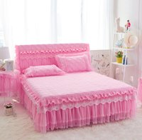 Wholesale purple rose bedspread resale online - Lace Ruffles Bedspread Bed Skirt Romantic Wedding Bedding Girls Gift Bedclothes Mattress Cover Elasticated Bed Valance piece Pink Full
