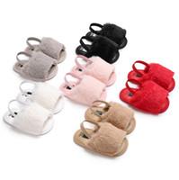 banda de piel de niña al por mayor-Diseñador de zapatos de los niños zapatos de piel de los bebés sandalias respirable del bebé del deslizador de las sandalias lanudo Banda elástica bebé de 6 colores opcionales YW3258