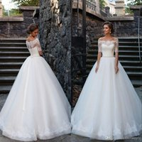 Wholesale wedding dress back button sash resale online - 2019 Gorgeous Off the Shoulder Wedding Dress Lace Appliques Beaded Sash See Through Button Back African Bridal Gowns with Short Sleeves