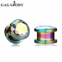 Wholesale expanding steel plug resale online - Retail Multicolor Ear Plugs and Tunnel AB Clear CZ Stainless Steel Ears Expand Jewelry Women Men