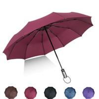 ingrosso grande piegatura ombrello-Ombrello a tre ante automatico pieghevole ombrello pioggia donne auto grandi di lusso antivento uomini telaio ombrelloni antivento