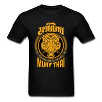 ingrosso camicia nera di kung fu del cotone-Cool Muay Thai Tiger Thailand T Shirt per uomo Kung Fu T Shirt Uomo Nero Sconto all'ingrosso T-shirt in cotone Gruppi Top Maglietta hip-hop Lettera