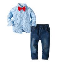 niños corbatas de lazo azul al por mayor-Chicos, niños, estrella azul, patrón, camisa de manga larga, caballero pajarita, pantalones bordados, conjunto de tres piezas