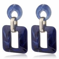 Wholesale geometric earrings online - Fashion Women Acrylic Geometric Square Statement Dangle Drop Earrings Jewelry
