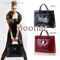 ingrosso modello di tote hobo-Wholesale-45 OL Lady Crocodile Pattern Bag Hobo Borsa Hobo Tote Bag Nero Rosso B271 # M4