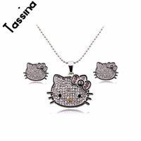 merhaba kristal set toptan satış-Kadınlar Kız Çocuk takı MLY5321 için Tassina Sevimli gümüş renkli anime Kristal Sevimli Kedi Hello Kitty KT Takı setleri