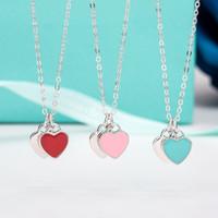 kalp kolye 925 toptan satış-100% Gerçek 925 Ayar Gümüş Kolye Mavi / Pembe / Kırmızı Emaye Aşk Kalp Kolye Kadın Düğün Hediye Takı Zincir Kolye Orijinal Kutusu Ile