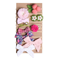 Wholesale accessories for girls stores for sale - Sweet Girl hair accessories Photography Hair Bows Nylon Headband Lace Flowers Birthday gift card for Boutique store