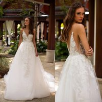 Wholesale plus size beach wedding dresses for sale - 2019 Milla Nova Beach Wedding Dresses Spaghetti Lace Appliques A Line Backless Wedding Dress Sleeveless Sweep Train Boho Bridal Gowns