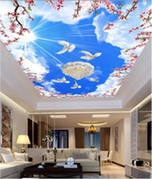 Wholesale vintage textiles for sale - Group buy WDBH d wallpaper custom photo Blue sky white clouds flower pigeon ceiling mural room Home decor d wall murals wallpaper for walls d