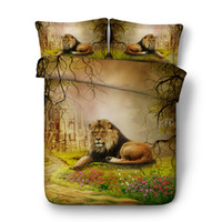 juegos de edredón marrón reina al por mayor-3D Sistemas del lecho Brown Lion Niño Niña 3 piezas funda nórdica conjunto de cierre edredón del lecho de la cubierta con la cremallera de la fauna del leopardo del tigre cama