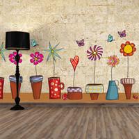 etiquetas da parede do potenciômetro da planta da flor venda por atacado-PVC Wall Flower Pot Planta de borboleta Natureza bela janela Decalque Sticker Home Decor Decoração Casa Sala de Estar
