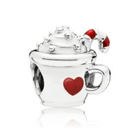 Wholesale enamel charm 925 silver resale online - NEW Sterling Silver Christmas Warm Cocoa Charm White Red Enamel Beaded Original Women s Jewelry Fashion ENMX