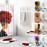 padrões de cortinas de chuveiro venda por atacado-4Pcs / Set Pattern Stylish Série Mulheres Africano Bath Set Shower Curtain Non-Slip WC Pad Capa Mat Sala de protecção Pad