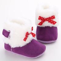 botas de bebé niña caen al por mayor-Bebé Niña Otoño Invierno Ropa de abrigo Zapatos Niños Bebé Niña pequeña Princesa Nudo de mariposa Botas peludas