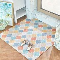 alfombras impermeables al por mayor-Modelo geométrico Impreso Mat en el pasillo de bricolaje corte de PVC resistente al agua de la alfombra antideslizante Alfombra felpudo para la entrada de la puerta de la cocina Mat
