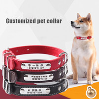 Wholesale small dog collars tags resale online - Dog Collars Leash Combination Personalized Custom Leather Pet Collar for Cats DIY Nameplate ID Tags For Small Medium Large Dogs
