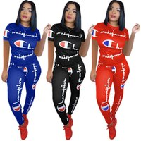 Wholesale flannel yoga pants online - Women Champions Short Sleeves Tracksuit Summer T shirt Pants Leggings Piece Sportswear letter Printed Outfit Sports Joggers Clothes A426