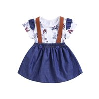 ingrosso gonna blu 12-2019 Ins Baby Girl Clothes Floral pagliaccetto Body con manicotto Ruffle + Blue Denim Overall Skirt 2 pezzi set 0-24M