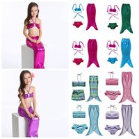 Wholesale mermaid swimsuit online - 25 Styles Kids Mermaid Swimwear Baby Girls Mermaid Swimsuits Kids Mermaid Bikini Beach Clothing set CCA11596 set