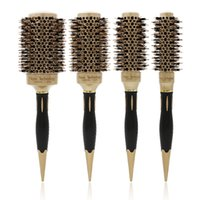53mm Ceramic Round Barrel Hair Brush Iron Radial Comb Large Aluminum Gold Boar Bristle Hairdressing Thermal Brushes Curling Style Tools