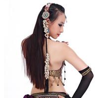 bandeaux pompons pour les femmes achat en gros de-Femmes Belly Dance Costume Bandeau Danse Shell Tête Corde Gypsy Head Band Pigtail Mode Chapeaux En Gros 10pcs / lot