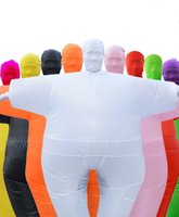 Wholesale inflatable dolls free resale online - Halloween Inflatable Sumo Clothes Funny Fat Costumes Inflatable Walking Dolls White Set performance clothing