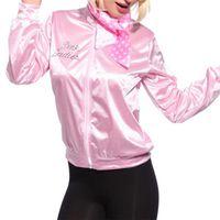 casacos de senhora venda por atacado-Mulheres rosa Casacos Básicos Sólidos Treino para As Mulheres Jaqueta Senhora Retro Mulheres Jaqueta Fancy Dress Grease Costume