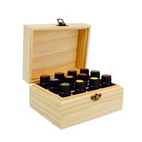 caixa de 12 compartimentos venda por atacado-Madeira 12 Compartimento Caixa De Armazenamento De Óleo Essencial Portátil 15 ml Garrafa Display Case Perfume De Viagem Recipiente De Transporte