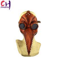 masque d'oiseaux achat en gros de-Masque de médecin peste bec docteur oiseau vapeur masque punk long nez cosplay fantaisie gothique rétro rock cuir Halloween bec