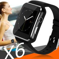 x6 toque venda por atacado-X6 relógios inteligentes com suporte da tela de toque da câmera cartão sim tf bluetooth smartwatch para iphone x samsung telefone goophone com caixa de varejo