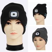 beanies ışıkları toptan satış-LED, Bluetooth Sıcak Beanies Şapkalar Bluetooth Işık Şapka Kablosuz Akıllı Cap Kulaklık Kulaklık Hoparlör Örme Parti Şapkası TTA1820 Caps