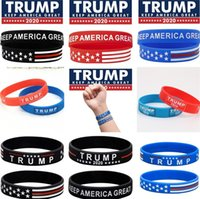 amerikanischer flaggenring großhandel-Neue 23 Arten US-Präsident Trump Wristband Propaganda Hand elastische Silikon Hand Ring amerikanische Flagge Ringe dekorative feine Armband 5104