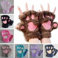 kız eldiven toptan satış-Kadın Kabarık Peluş Eldiven Moda Kız Kış Eldivenler Paws Eldiven Sahne Gerçekleştirmek Prop Sevimli Kedi Pençe Eldiven TTA1527