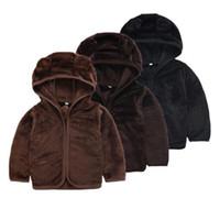 chaqueta suave de bebé al por mayor-New Autumn Winter Toddler Baby Boy Soft Plush Sudadera con capucha de manga larga Casual Zip-up Hooded Jacket 2-6T