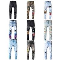 gerade schlauch großhandel-Großhandel Klassische Miri Hip Hop-Hosen-Jeans Designer Hose Aquaman Mens dünne gerade Biker dünne Schlupfloch Jeans Männer Frauen zerrissene Jeans
