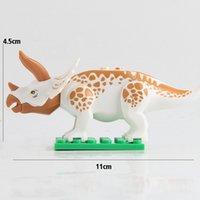 brinquedo de plástico cubo de bebê venda por atacado-12 peças / set dinossauro dinossauro puzzle dinossauro building block placa de fundo montado brinquedo jurassic park velociraptor dinossauros define brinquedos