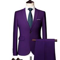 iş rahat erkek ceketi toptan satış-Blazers Pantolon Setleri 2019 Yeni Moda Damat Gelinlik Suits erkek Rahat Iş 2 Parça Suit Ceket Kaban Pantolon M-6XL