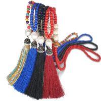 suéteres hechos a mano de las mujeres al por mayor-Nueva moda Pop imitación perla Rhinestone de seda de la borla collares con cuentas suéter cadena larga estilo étnico mujeres joyería regalos