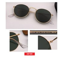 lentes de circulo gafas de sol al por mayor-nuevo Retro clásico metal círculo gafas de sol estilo redondo espejado rosa gafas marco dorado mate lente reflectante moda mujer 50mm lente UV400